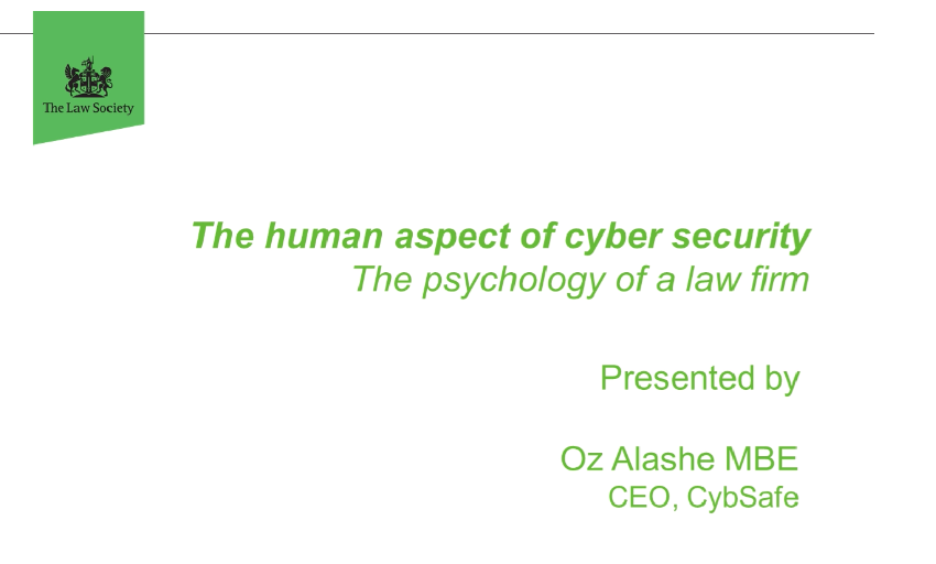Law Society Webinar — The human aspect of cyber security