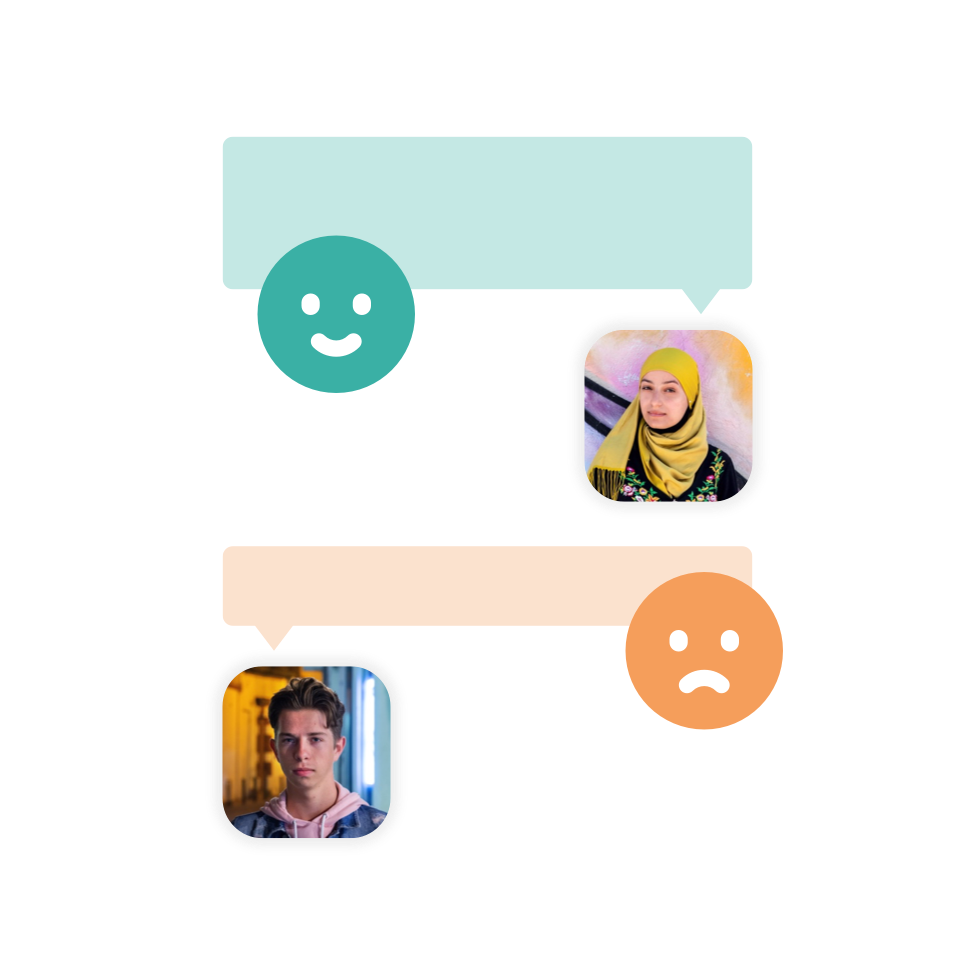 Two people's profile photos. One with a happy speech bubble and the other with a sad one.
