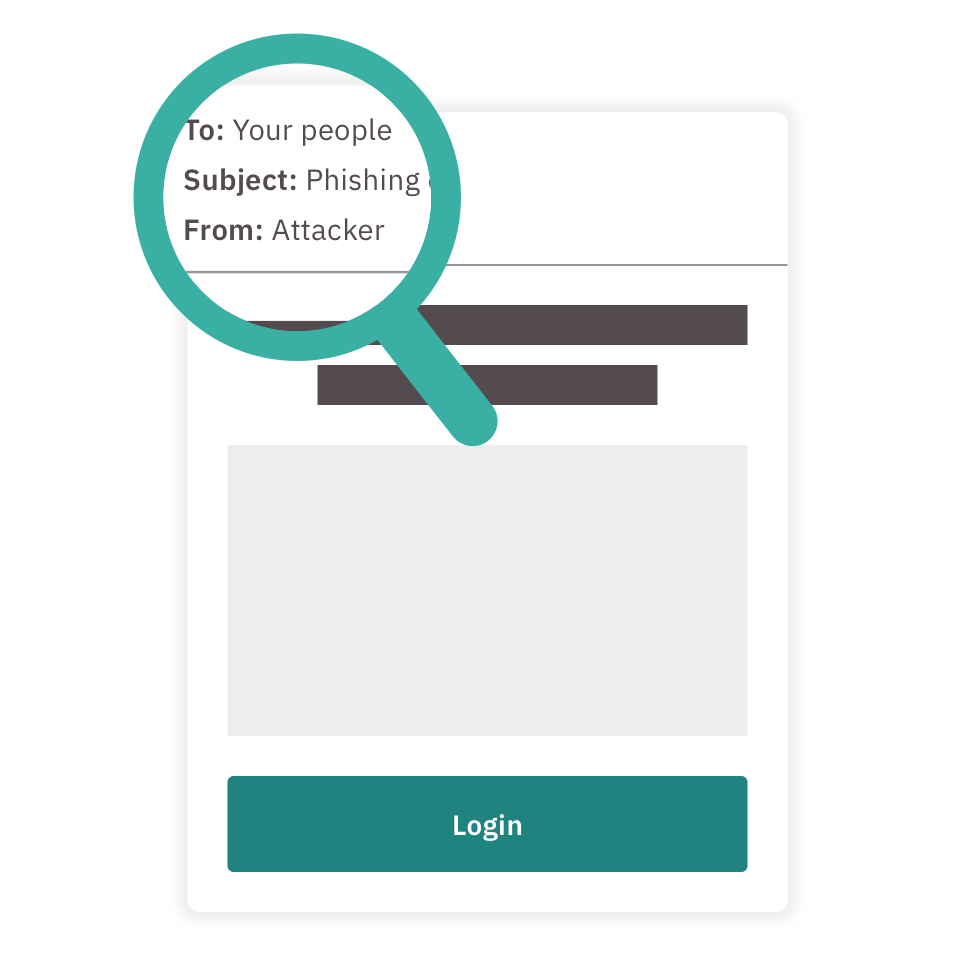 A phishing email being observed through a magnifying glass.