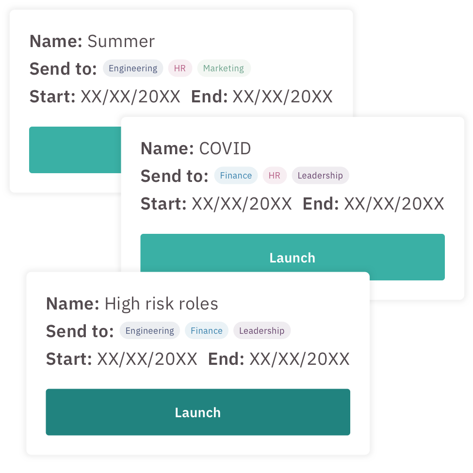 Examples of three phishing campaigns, that are ready to launch.