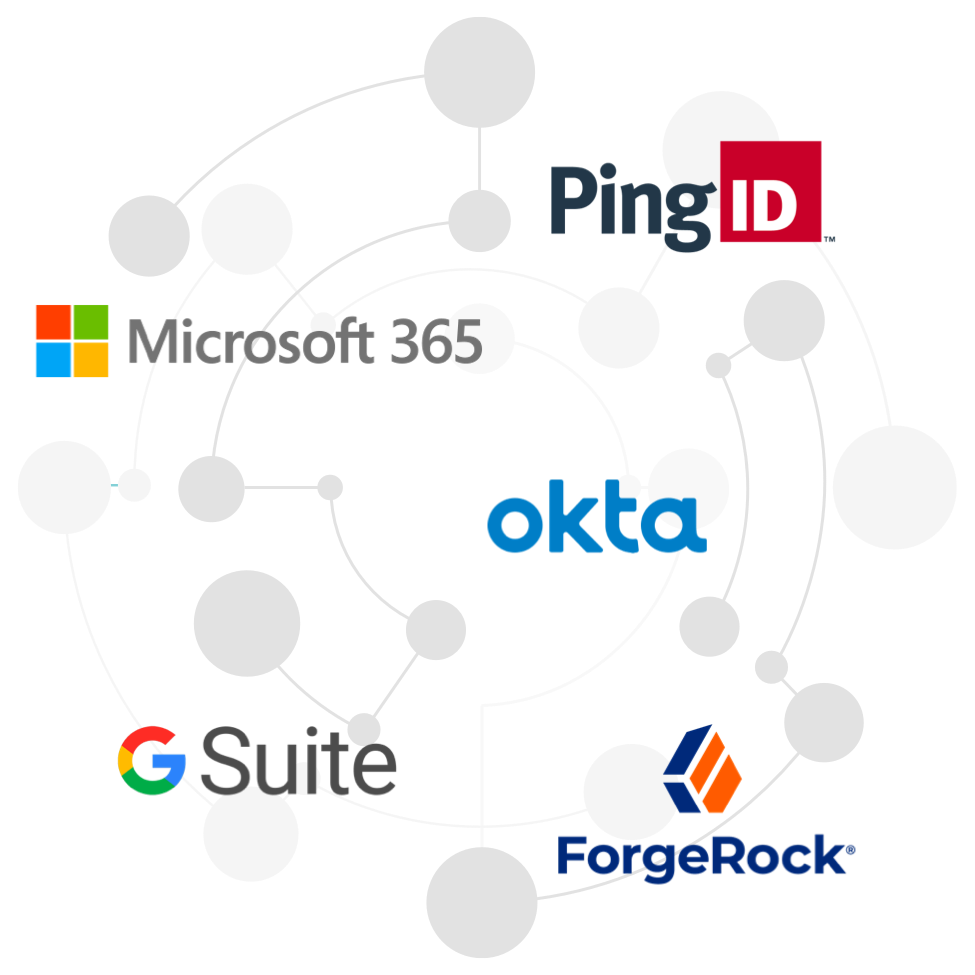 Several app logos with lines linking them.